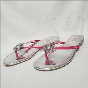 Carlos Jeweled Leather Strap Flip Flop